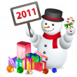 Snowman welcoming new year - Stock Photo
