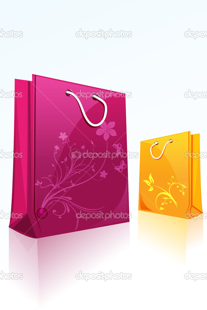 Illustration of floral shopping bags on isolated background  Stock Photo #4269069