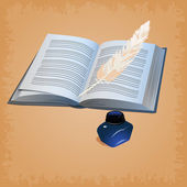 Feather pen with open book — Stock Photo