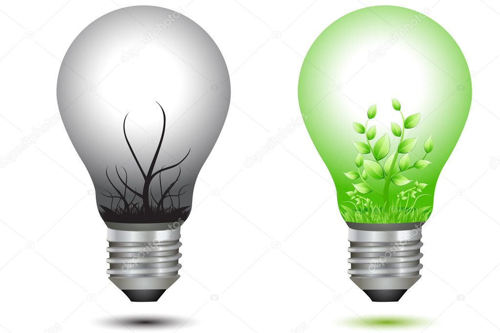 Illustration of comparison between two bulbs with plant and industry on white background  Stock Photo #4289738