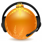 Headphone with christmas ball — Stock Photo