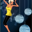 Dancing girl in disco — Stock Photo
