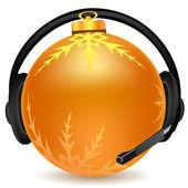 圣诞球带耳机 — 图库照片