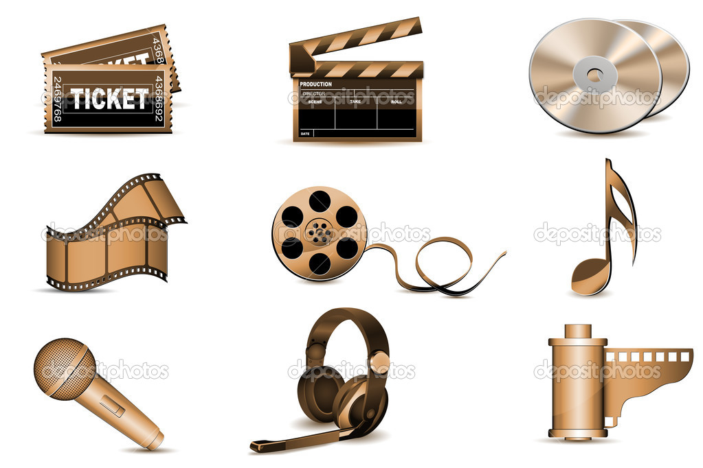 Illustration of entertainment icons on white background  Stock Photo #4290167