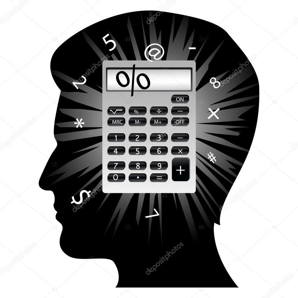 Illustration of creative man's mind with calculator on white background  Stock Photo #4301766