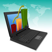 Growth graph chart on laptop — Stock Photo