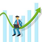 Uomo d'affari con grafico — Foto Stock