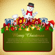 Christmas card with presents and snowman — Stock Photo
