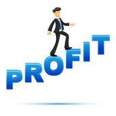 Businessman climbing on profit text — Stock Photo