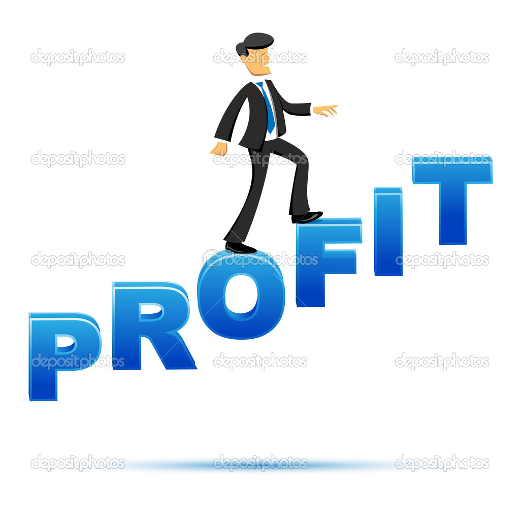 Illustration of business man with profit text on white background — Stock Photo #4352817