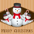 Stock Photo: Merry christmas card with snow man