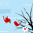 Valentine  card with birds — Stockfoto