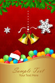 Christmas card with bell and colorful balloon — Stock Photo