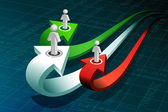 Business peoples on growth arrow — Stock Photo