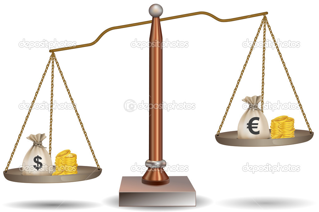 Illustration of beam balance with currency bags on white background  Stock Photo #4373976