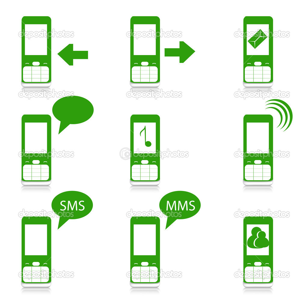 Illustration of mobile functions  on white background  Stock Photo #4374017