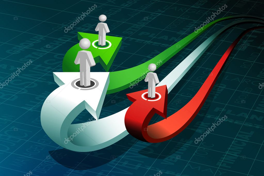 Illustration of business peoples on growth arrow  Stock Photo #4374129