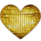 Golden disco heart — Stock Photo