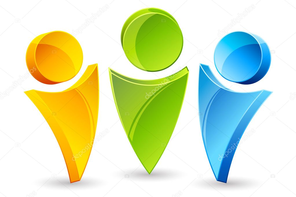 Illustartion of human icons on white background — Stock Photo #4390120
