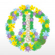 Floral peace sign — Stock Photo