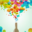Cola bottle with colorful bubbles - Stock Photo