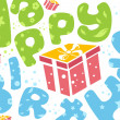 Happy birthday card with present — 图库照片