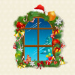 Christmas card with gifts on window — Stock Photo