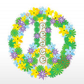 Floral peace sign — Stock fotografie