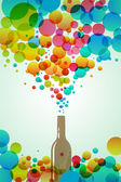Cola bottle with colorful bubbles — Stock Photo