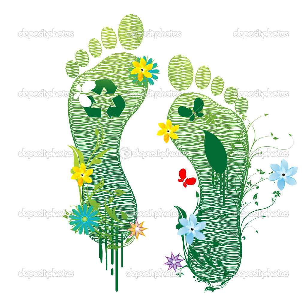 Illustration of recycle feet on white background — Stock Photo #4403345