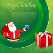 Santa in merry christmas card - Stock Photo