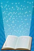 Open book with alphabets flying — Stock Photo