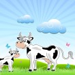 Sketchy cow with mammal in field — Stock Photo