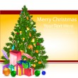 Merry christmas card with xmas tree — Stock Photo #4439243