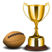 Trophy cup with ball — Stock Photo