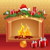 Kerstkaart met geschenken — Stockfoto