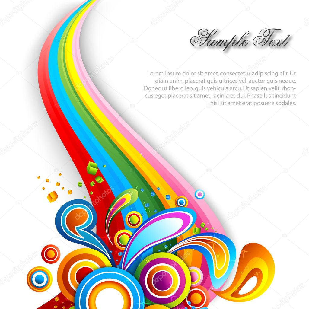 Illustration of abstract vector background with colorful swirls  Stok fotoraf #4432357