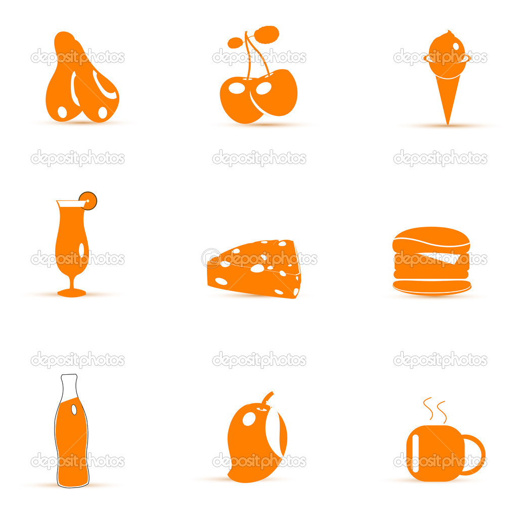 Illustration of junk food icons  on white background  Stock Photo #4439248