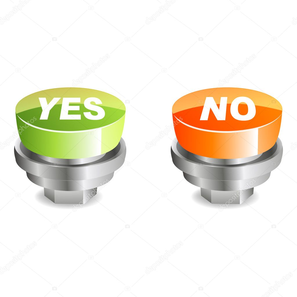 Illustration of yes and no buttons on white background — Stock Photo #4439290