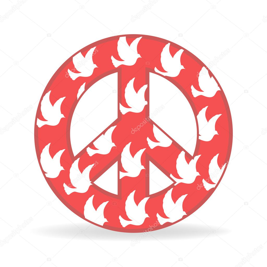 Illustration of sign of peace with bird on white background — Stock Vector #4443373