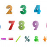 Постер, плакат: Math numbers with icons