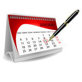 Calender with pen — Stock Photo