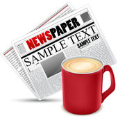 Coffee with news paper — Stockfoto
