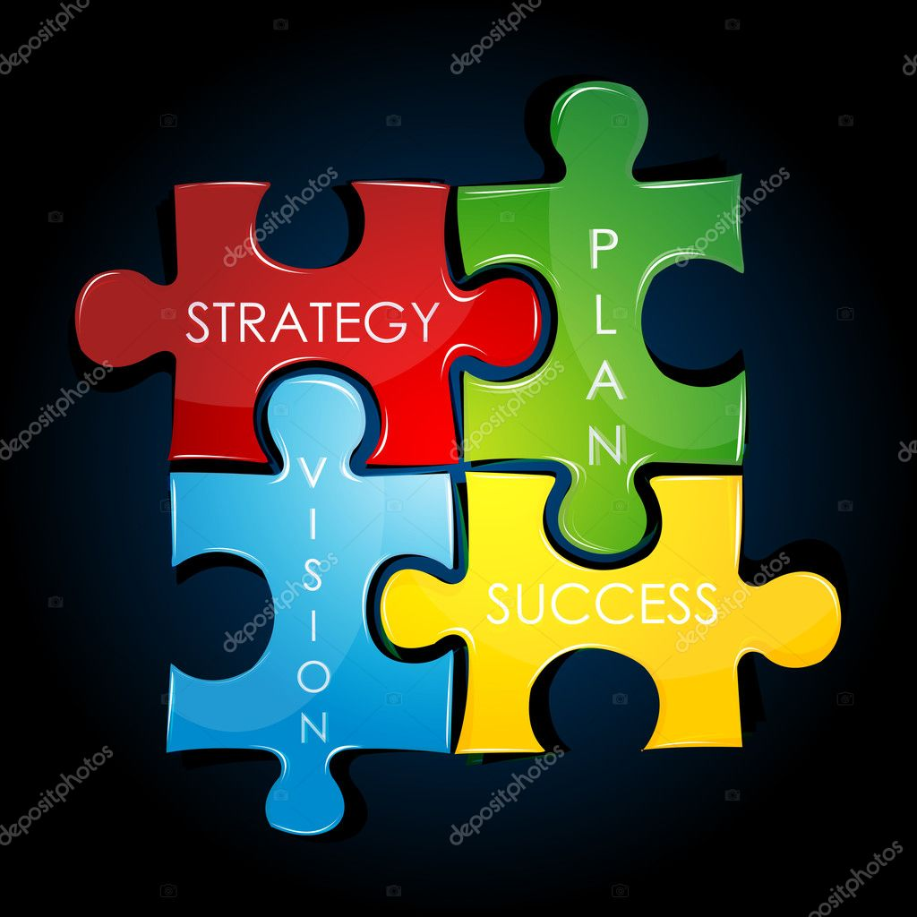 Illustration of business strategy and plan against black  background  Stock Photo #4486717