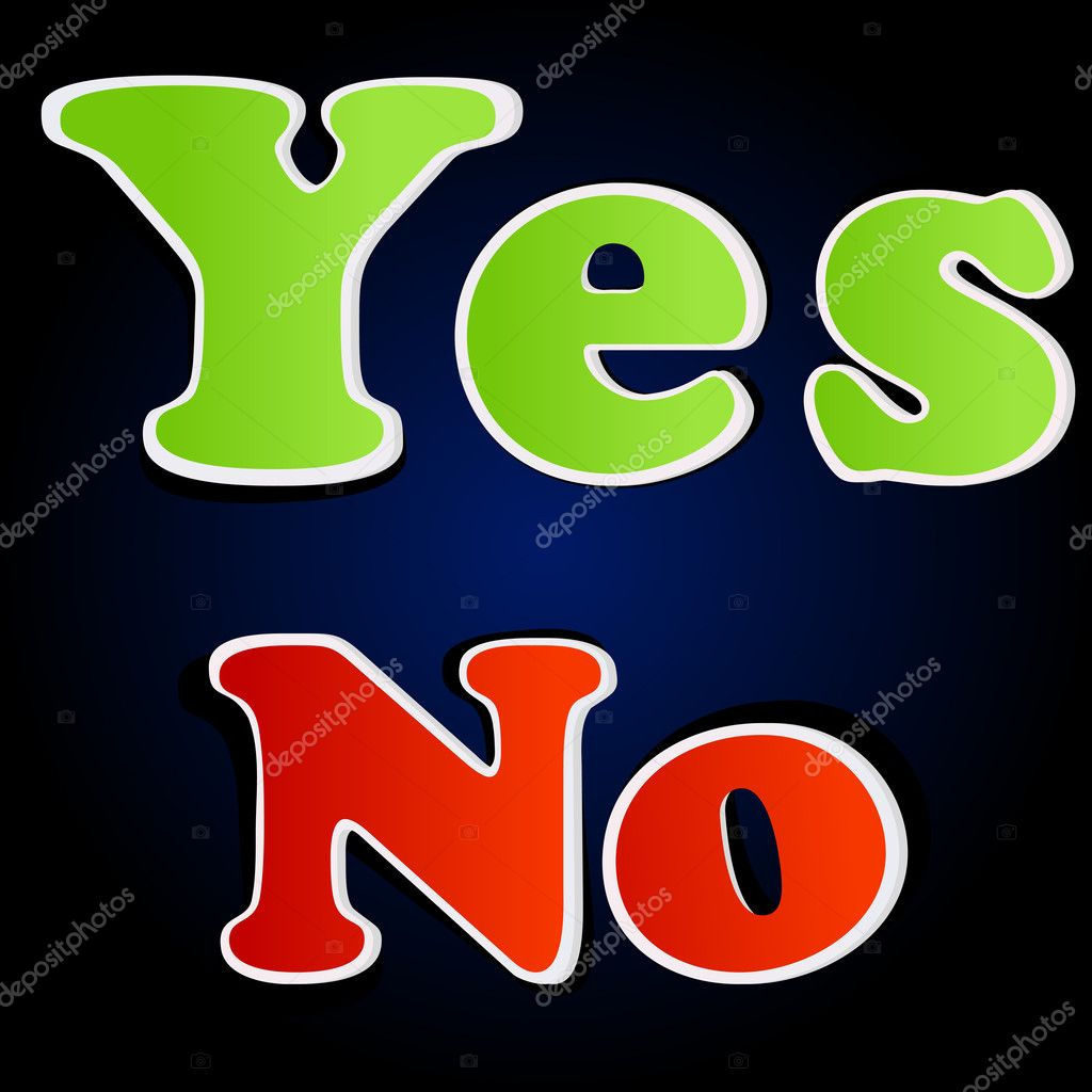 Illustration of yes and no options on white background  Stock Photo #4487406
