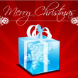 Merry christmas card with gift — Stockfoto