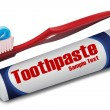 Brush with toothpaste - Stock Photo