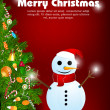 Stock Photo: Merry christmas card with snowman
