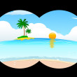 Sea beach in binocular view - Stock Photo