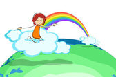 Girl on cloud with rainbow — Stock Photo